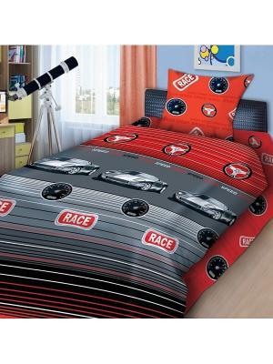 Комплект постельного белья 1,5 бязь Суперкар 4you. Цвет: красный