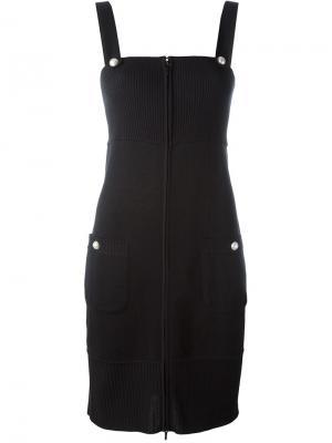 Приталенное трикотажное платье Chanel Vintage. Цвет: чёрный