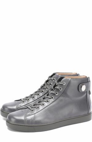 Высокие кожаные кеды на шнуровке Gianvito Rossi. Цвет: темно-серый