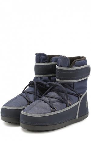 Текстильные сапоги на шнуровке Bogner. Цвет: темно-синий