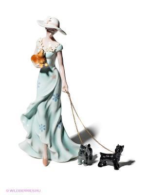 Статуэтка Дама с собачками Pavone. Цвет: светло-зеленый