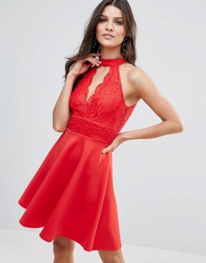 Jessica Wright Короткое приталенное платье с чокером. Цвет: оранжевый