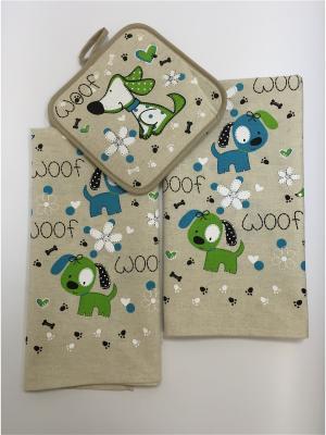 Набор полотенец A and C Collection. Цвет: бежевый, зеленый, голубой