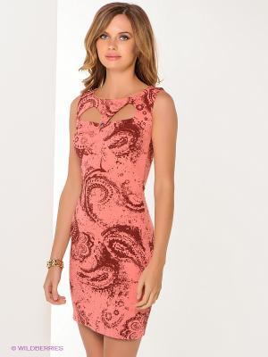 Платье MARY MEA. Цвет: светло-коралловый, коричневый