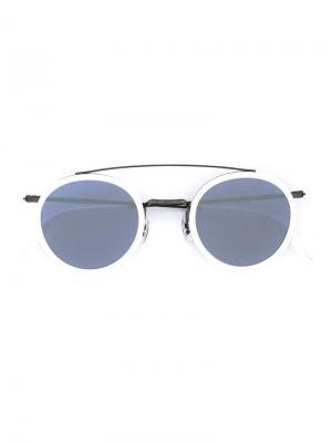 Солнцезащитные очки в круглой оправе Masunaga. Цвет: белый