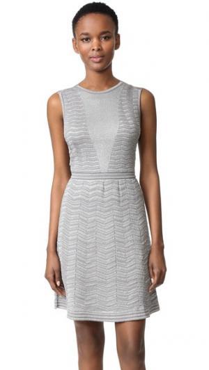 Однотонное металлизированное платье с зигзагами M Missoni. Цвет: графит