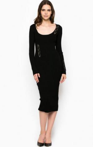Платье из вискозы средней длины Liu Jo. Цвет: черный