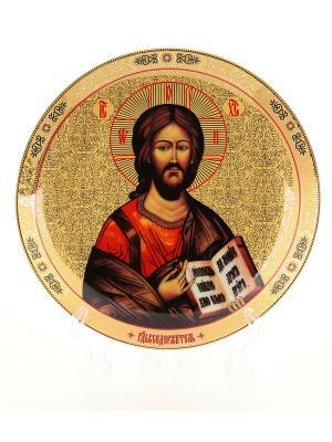 Тарелка декоративная Иисус Христос Elan Gallery. Цвет: золотистый, коричневый, красный