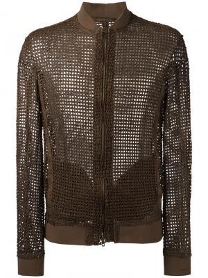 Плетеная куртка-бомбер Salvatore Santoro. Цвет: коричневый