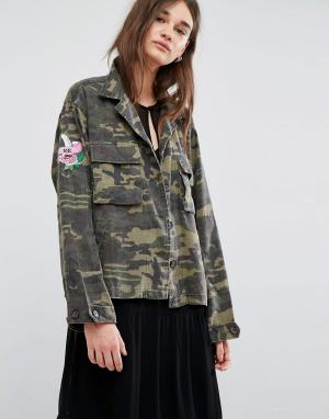 Gestuz Куртка в стиле милитари Milla. Цвет: зеленый