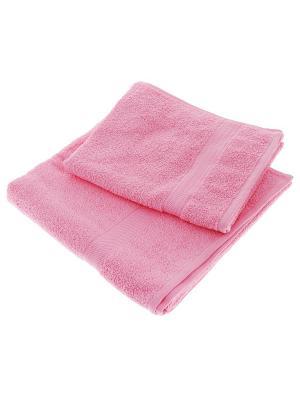 Махровое полотенце розовый 50*90-100% хлопок, УзТ-ПМ-112-08-04 Aisha. Цвет: розовый