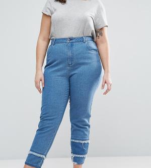 Daisy Street Plus Рваные в винтажном стиле со вставками внизу. Цвет: синий