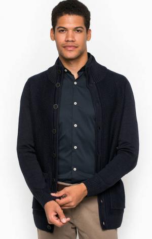 Трикотажный кардиган с карманами Liu Jo Uomo. Цвет: синий