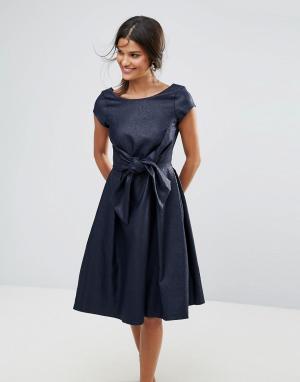 Closet London Платье с короткими рукавами и бантом. Цвет: синий