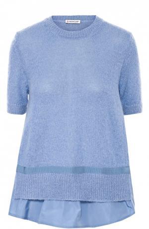 Вязаный пуловер свободного кроя с коротким рукавом Moncler. Цвет: голубой