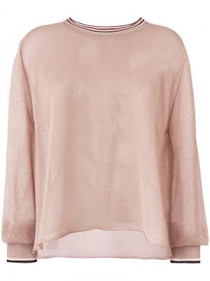Блестящий свитер с рукавами клеш Forte. Цвет: металлический