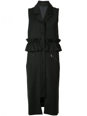 Пальто с короткими рукавами и рюшами Mother Of Pearl. Цвет: чёрный