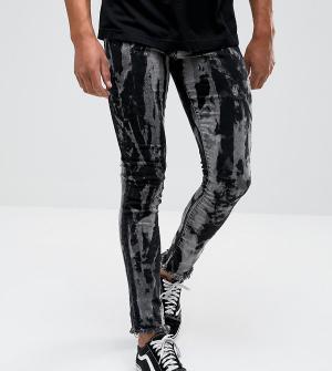 Granted Черные выбеленные джинсы скинни с необработанными краями. Цвет: черный
