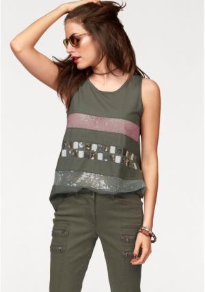 Топ Aniston. Цвет: оливково-зеленый/розовый/белый/золотистый/серебристый