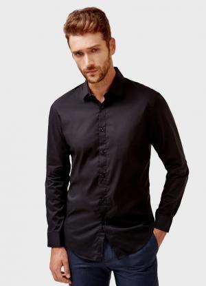 Однотонная рубашка OSTIN. Цвет: черный