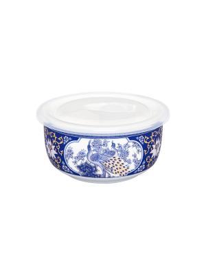 Салатник с пластиковой крышкой Павлин синий Elan Gallery. Цвет: синий