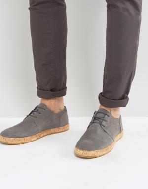 Zign Кожаные туфли на шнуровке с пробковой подошвой. Цвет: серый