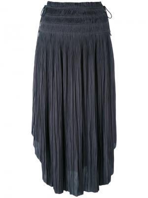 Плиссированная юбка с закругленным подолом Ulla Johnson. Цвет: серый