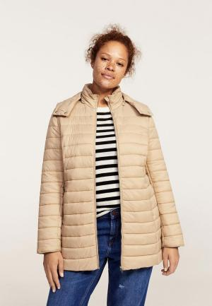 Куртка утепленная Violeta by Mango. Цвет: бежевый