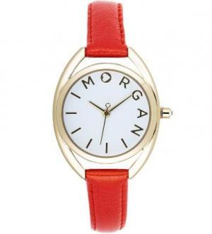 Часы из нержавеющей стали с оранжевым кожаным браслетом Morgan