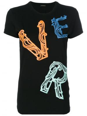 Декорированная футболка Versace. Цвет: чёрный