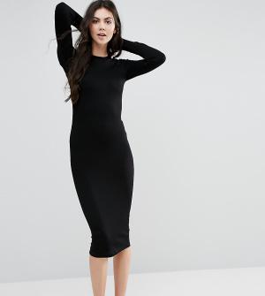 ASOS Tall Облегающее платье миди в рубчик с длинными рукавами. Цвет: черный