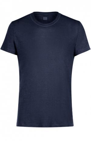 Льняная футболка с круглым вырезом 120% Lino. Цвет: темно-синий