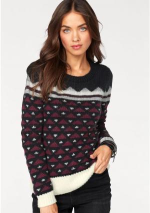 Пуловер AJC. Цвет: черный/бордовый/цвет белой шерсти