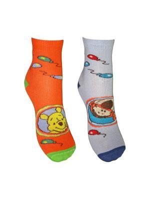 Носки 2 пары Master Socks. Цвет: оранжевый, голубой