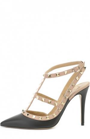 Кожаные туфли Rockstud на шпильке Valentino. Цвет: черный