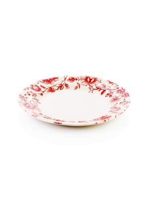 Тарелка обеденная White and Red, 26см Elff Ceramics. Цвет: белый, красный