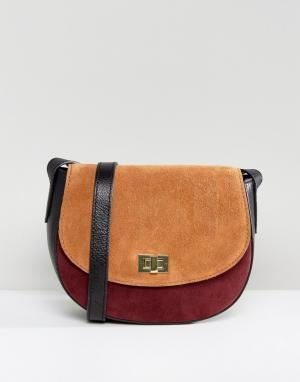 Pieces Замшевая сумка через плечо. Цвет: рыжий