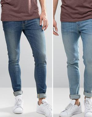 ASOS 2 пары джинсов скинни (голубые, синие). Цвет: синий