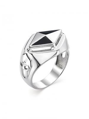 Мужское кольцо - печатка Спартак KU&KU. Цвет: черный, серебристый