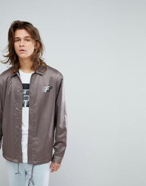 FAIRPLAY Атласная спортивная куртка с принтом на спине. Цвет: серый