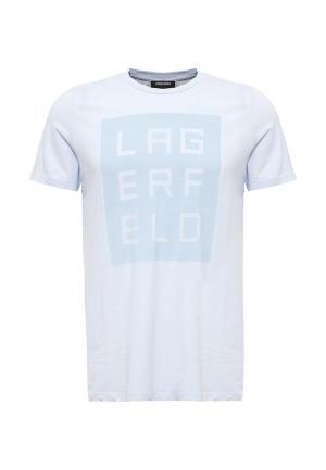 Футболка Lagerfeld. Цвет: голубой