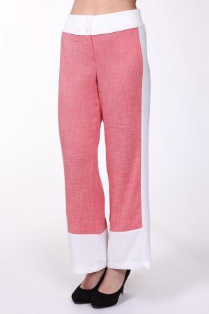 Брюки EVA Collection. Цвет: розово-белый