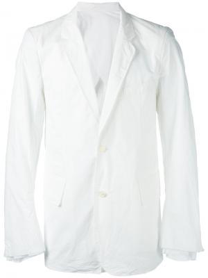 Пиджак с узкими лацканами Wardrobe Takahiromiyashita The Soloist. Цвет: белый