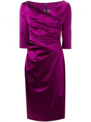 Платье со сборкой Colly Talbot Runhof. Цвет: розовый и фиолетовый