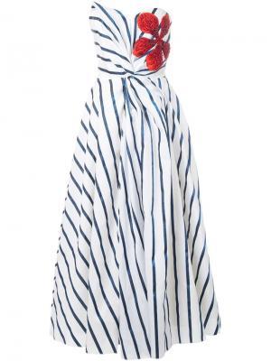 Полосатое платье без бретелек Ingie Paris. Цвет: белый