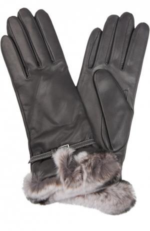 Кожаные перчатки с отделкой из меха кролика Sermoneta Gloves. Цвет: темно-серый