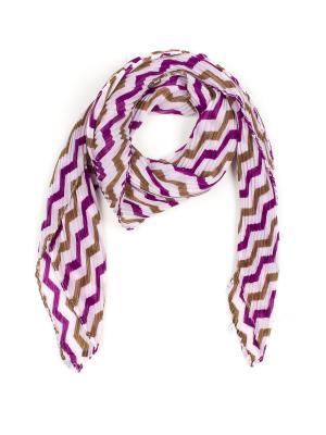 Платок Pretty Mania. Цвет: белый, светло-коричневый, фиолетовый
