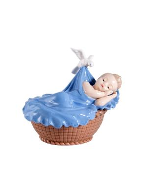 Статуэтка Малыш в колыбели Русские подарки. Цвет: бежевый, синий, коричневый