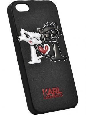 Чехол Lagerfeld для iPhone 5S/SE Choupette in love Hard PU Black Karl. Цвет: черный