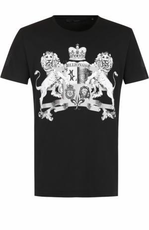 Хлопковая футболка с принтом Billionaire. Цвет: черный
